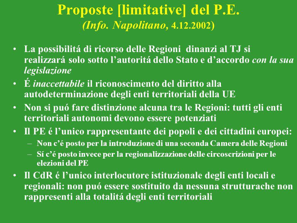 Proposte [limitative] del P.E. (Info. Napolitano, 4.12.2002)